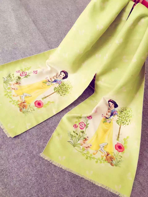 Children cartoon design princess imitation cashmere scarf wholesale