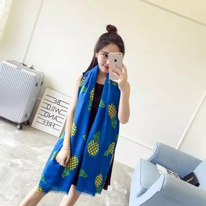 Female pineapple pattern cotton scarf wholesale