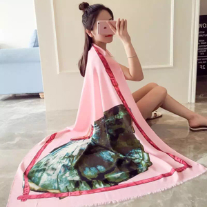Female color skirt pattern painting cotton long scarf wholesale