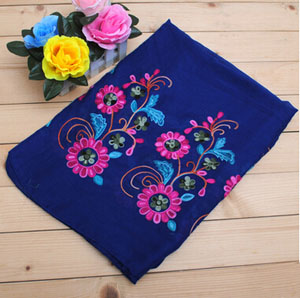 Female national wind cotton embroidery flower scarf wholesale