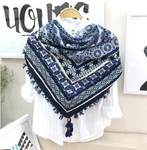 National wind restoring ancient ways cotton print female shawls scarf wholesale