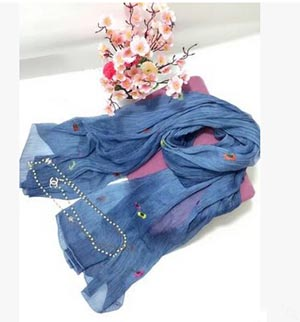 Large national silk female embroidered scarf wholesale