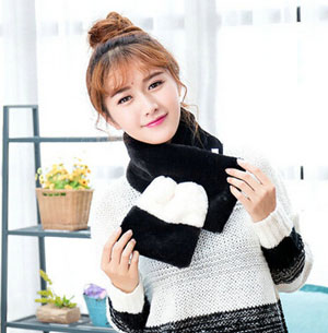 Lambs wool scarf female single colormatching fluffy warm collar wholesale