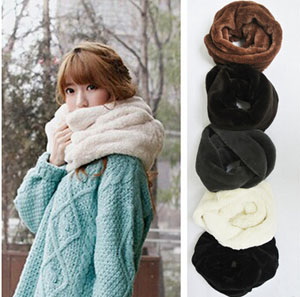 Little rabbit hair female pure color cashmere scarf wholesale