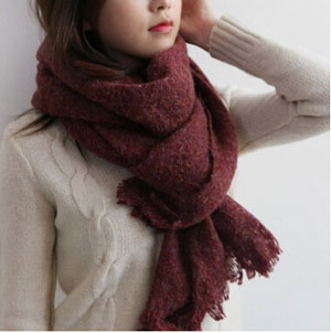 Female warm pure color imitation cashmere scarf wholesale
