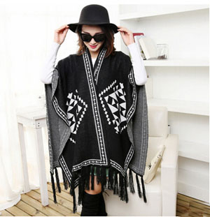 Female Warm thickening double cloak scarf wholesale