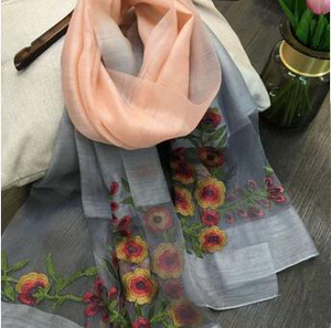 Silk wool embroidery flower color scarf wholesale