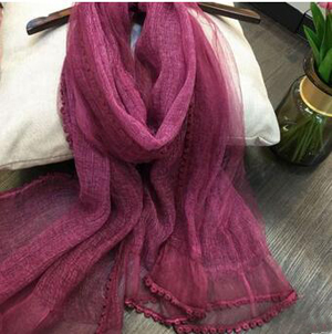 Double female lace trimming silk scarf wholesale