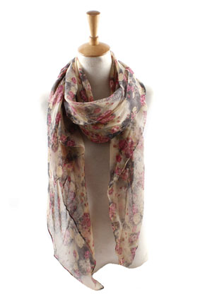 Wholesale Little Rose Print Balinese yarn scarf
