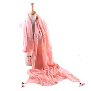 Wholesale lattice linen tassel scarf