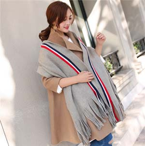 Wholesale striped solid color imitation cashmere scarf
