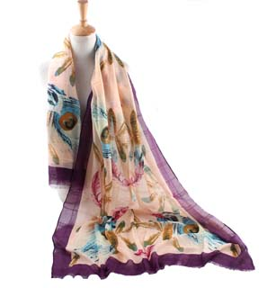 Wholesale feather polyester scarf