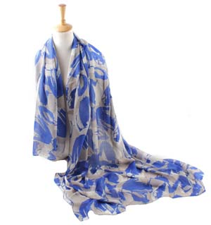 wholesale striped leaf linen scarves