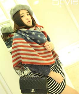Wholesale American flag star imitation cashmere scarf