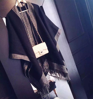 Wholesale monochrome tassel wool scarf
