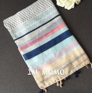 Wholesale fine striped cotton scarf
