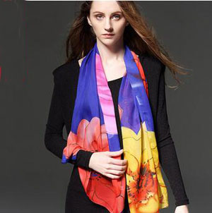 Female spring flowers printed chiffon scarves