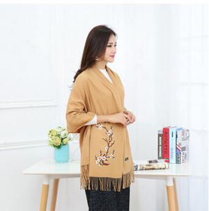 Folk embroidery imitation wool embroidery fringed shawl