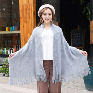 Wholesale plain color stain weave winter with Tassel scarf