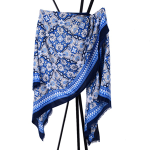 Satin geometry linked to the scarf women blue national wind flower tassels scarves