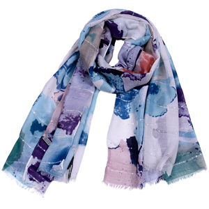 New sequined printed cotton scarf