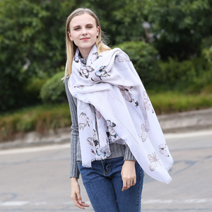 Sequined lady butterfly large size scarf shawl