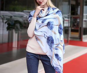 Twill cotton lady poppy flower printing large scarf