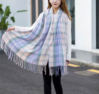 Imitation cashmere plaid scarf