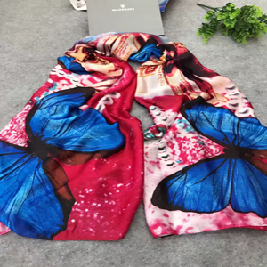 Female butterfly painted silk scarf wholesale