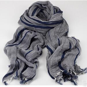 Female stripe cotton tassel scarf wholesale