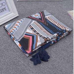 Female cotton twill tassel geometric patterns scarf wholesale