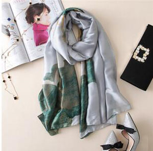 Emulation silk lotus printed scarf wholesale