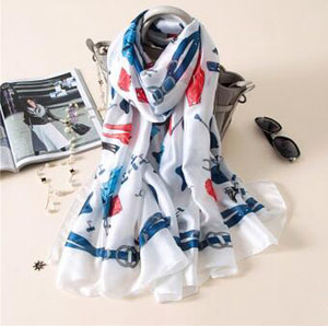 Sweet emulation silk printing scarves wholesale