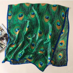 Soft green peacock feather printed scarf wholesale