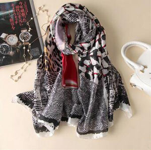 Thin female leopard print emulation silk scarf wholesale
