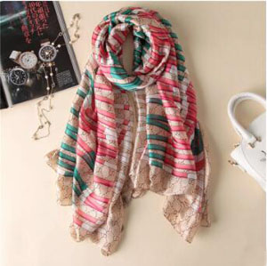 Letters printed striped silk scarves wholesale
