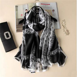 Lace grid printed female scarves wholesale