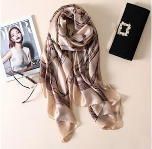 Female chain pattern silk scarves wholesale