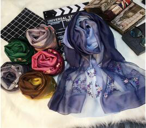 Elegant gradient embroidered silk scarves wholesale
