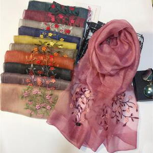 National wind silk embroidery wool scarf wholesale