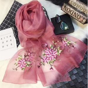 Cut flowers silk embroidered wool scarf wholesale