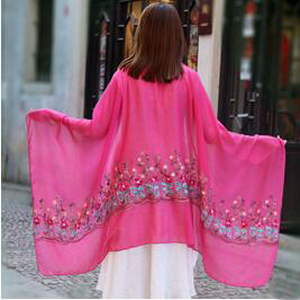 Female daffodil embroidery silk scarves wholesale