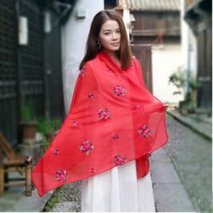 Female rose national wind pure hand silk scarf wholesale