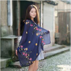 Embroidered cotton linen female scarves wholesale