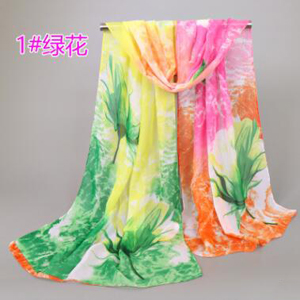 Ladys colorful flower chiffon scarf wholesale