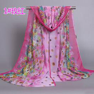 Ladies flowers chiffon silk scarves wholesale
