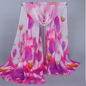 Womens tulip flowers chiffon silk scarves wholesale