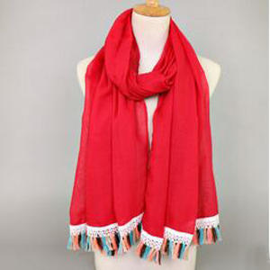 Colorful tassel cotton scarf wholesale