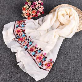 Sunflower national wind embroidery cotton scarf wholesale