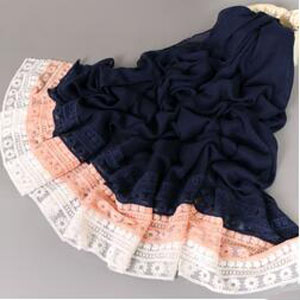 Lace edge national wind cotton linen shawl scarf wholesale